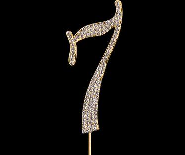 Gold Diamanté Number 7 Stand