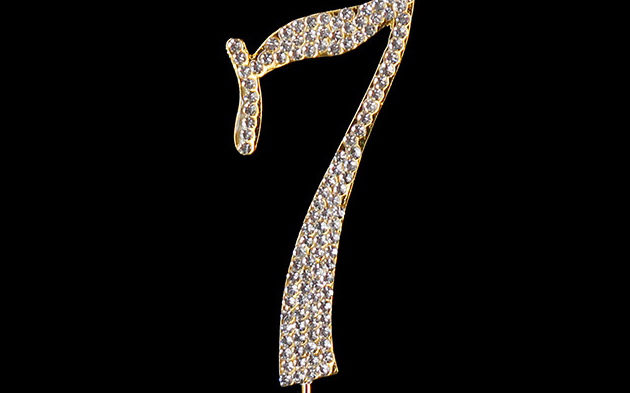 Gold Diamanté Number 7 Stand