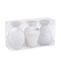 Vintage Glass Bottle Set Of 3 White 10.5