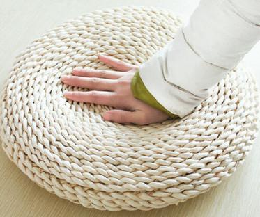 Straw Weave Pouffe