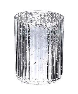 Large Silver Mercury Ribbed Vase