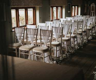 White Chiffon Vertical Chair Drapes