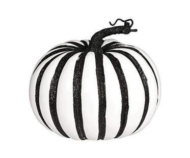 Large Black Stripped Faux Pumpkin