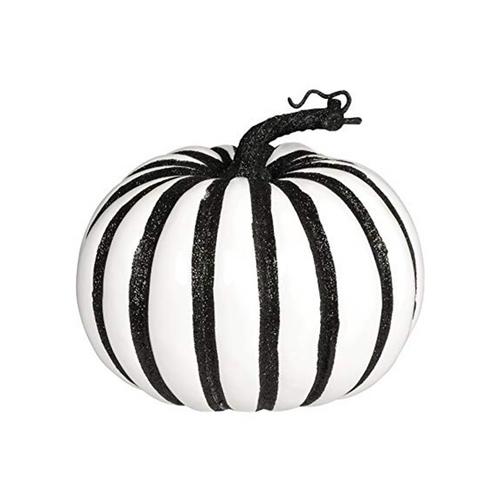 Large Black and White Glitter Pumpkin De