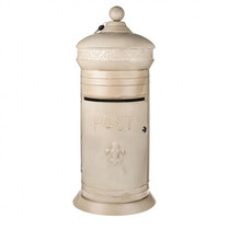 Rustic Lockable Cream Postbox