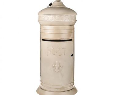 Rustic Lockable Cream Postbox