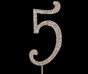 Gold Diamanté Number 5 Stand