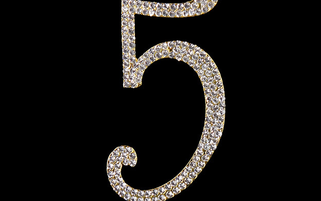 Gold Diamanté Number 5 Stand