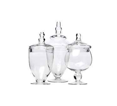 Set of 3 Small Apothecary Vintage Glass Sweet Jars
