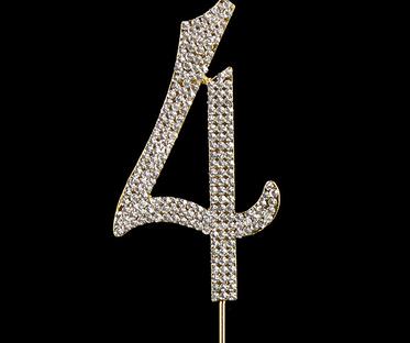 Gold Diamanté Number 4 Stand