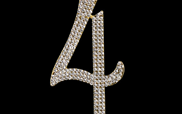 Gold Diamanté Number 4 Stand
