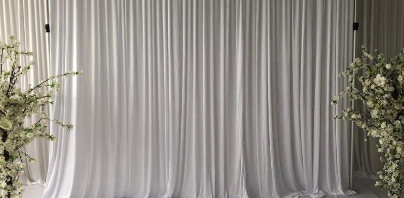 White Grecian Curtain Backdrop