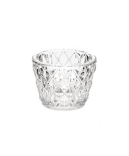 Clear Glass Cut Tea Light Holder