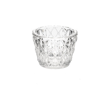 Clear Pressed Glass Tea Light Candle Holder