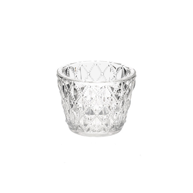 Clear Glass Cut Tea Light Holder