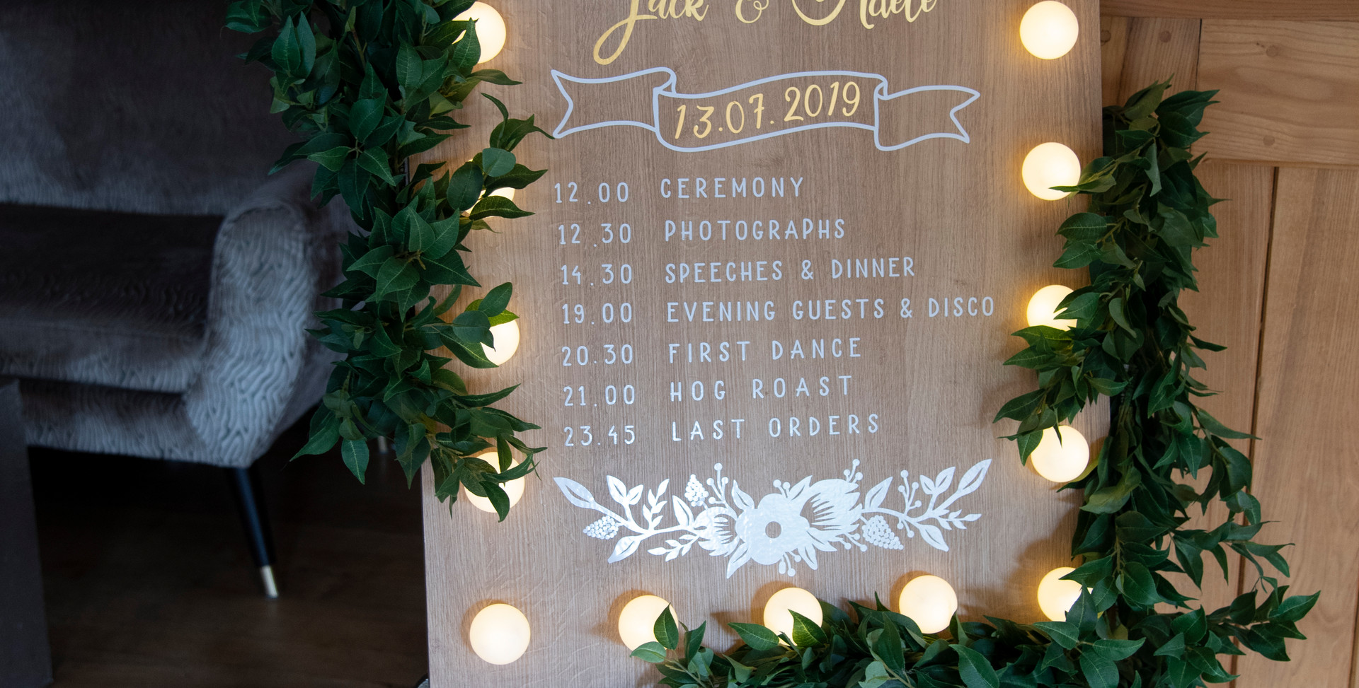 Light Up wooden Welcome / Program Board