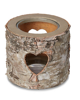 Bark Heart Glass & Wood Tealight Holder.
