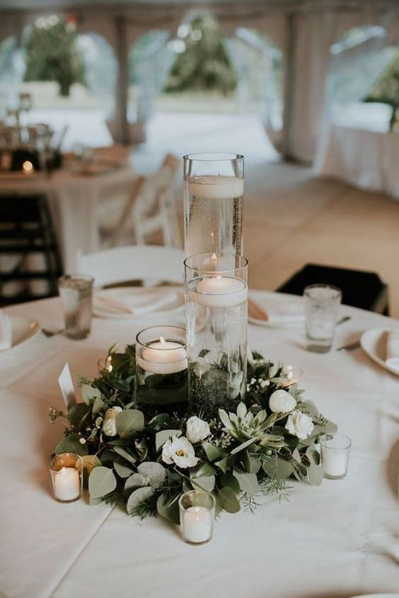 Clear Glass Cylinder Candle Holder Centrepiece