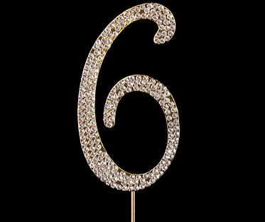 Gold Diamanté Number 6 Stand