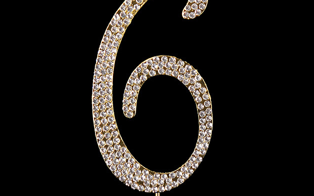 Gold Diamanté Number 6 Stand