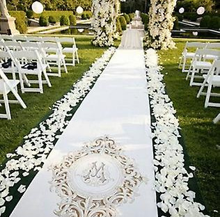 White Scattered Rose Petal Aisle Display
