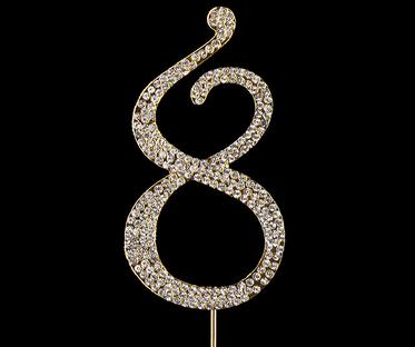 Gold Diamanté Number 8 Stand