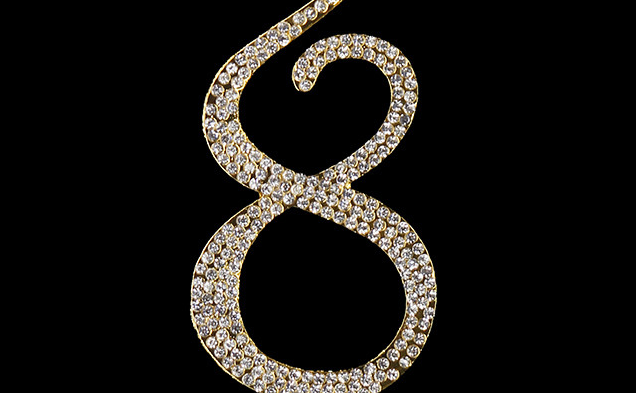 Gold Diamanté Number 8 Stand