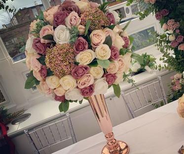 Rose Gold Conic Vase Centrepiece