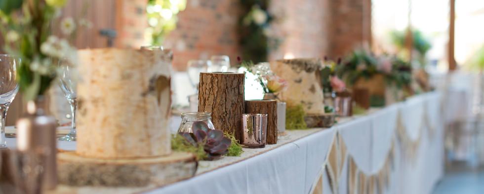 Wood Log Slice on Top Table