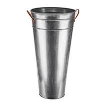 Galvanised Vase With Copper Handles