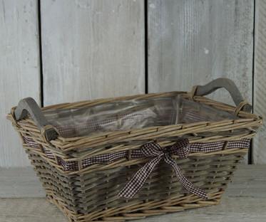 Grey Wash Willow Ribbon Basket