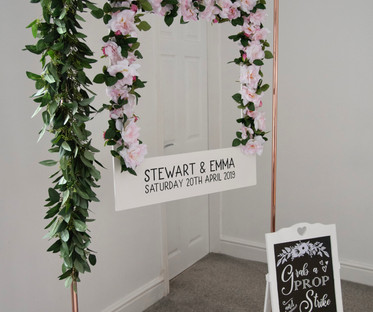 Copper & Pink Floral Photo Booth Station