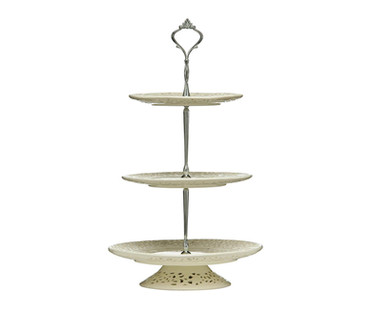 Ivory 3-Tier Lace Cake Stand