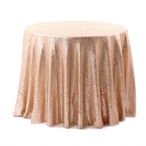Matt Champagne & Blush Sequin Tablecloth