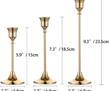 Gold Brass Slim Taper Candlestick Holders