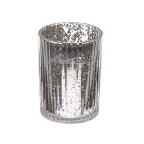 Small Silver Mercury Ribbed Vase