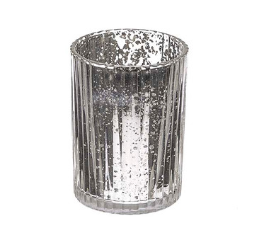 Small Silver Mercury Ribbed Vase