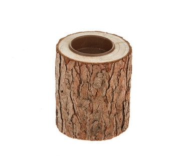Small Bark Wooden Tealight Candle Holder 9cm