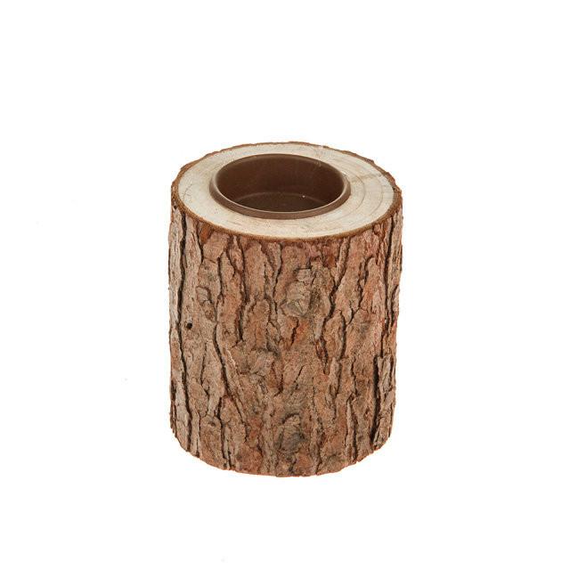 Small Bark Wooden Tea Light Holder