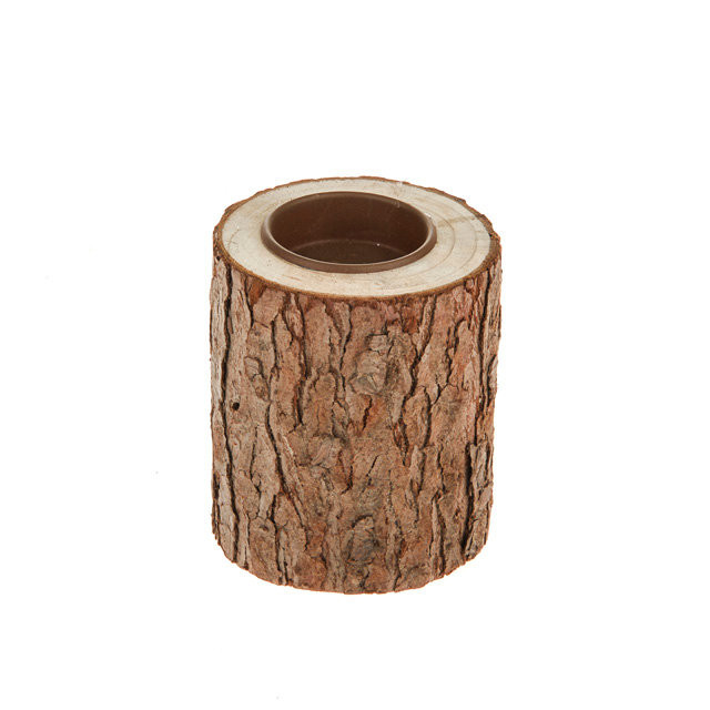 Small Bark Wooden Tea Light Holder