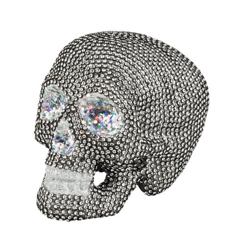 Sparkly Silver Skull Decoration