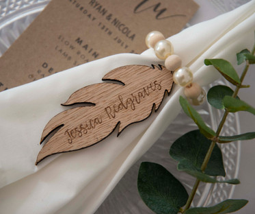 Laser Cut Feather Shape Name Tag