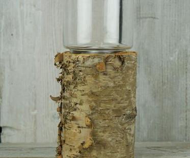 Large Bark & Glass Lantern