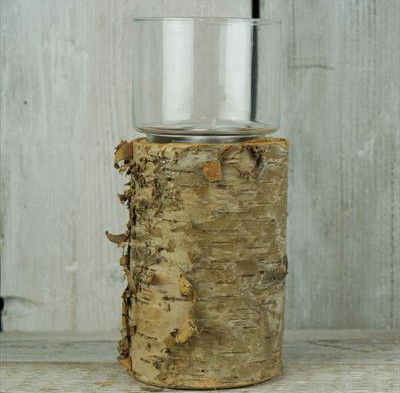 Large Bark & Glass Lantern