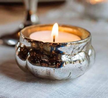 Silver Mini Pumpkin Tea Light Candle Holder