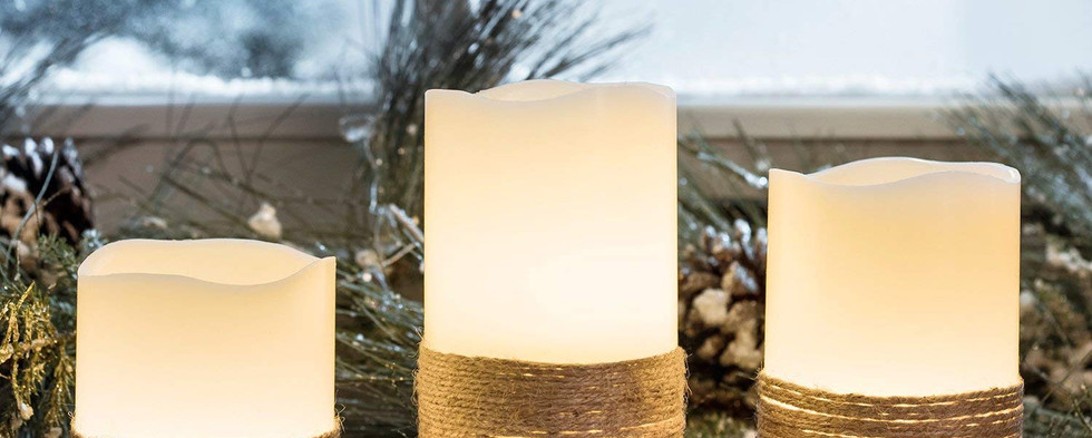 Flameless Pillar Candles with Twine