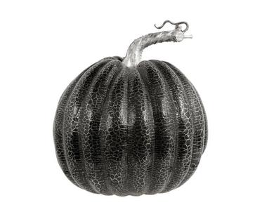 Medium Black and Silver Crackle Faux Pumpkin