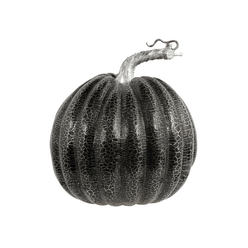 Black and Silver Crackle Faux Pumpkin