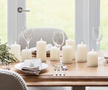 7Real Ivory Wax Flamess Pillar Candles
