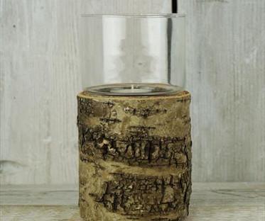 Medium Bark & Glass Lantern